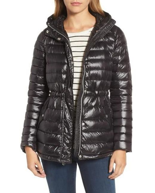 Vince Camuto | Black Hooded Down Jacket | Lyst