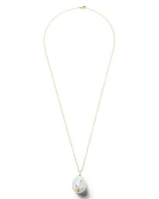 Mizuki - Metallic Baroque Pearl And Diamond Pendant Necklace - Lyst
