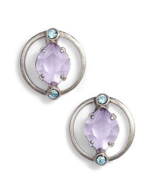 Sorrelli - Purple Tiger Lily Crystal Earrings - Lyst