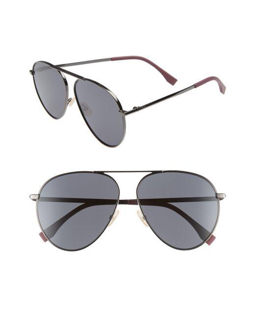 Fendi - 61mm Aviator Sunglasses - Dark Ruthenium/black for Men - Lyst