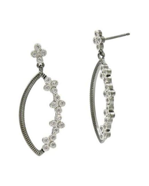 Freida Rothman | Metallic Industrial Finish Marquise Drop Earrings | Lyst