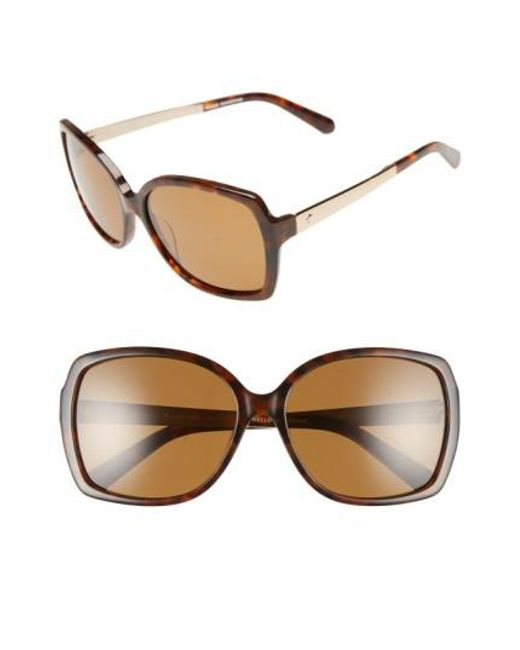 Kate Spade - 'darilynn' 58mm Polarized Sunglasses - Havana/ Brown Polar - Lyst