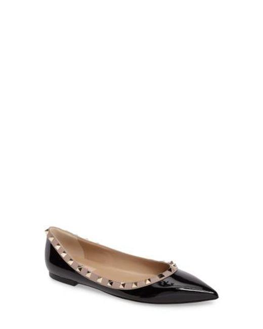 Valentino | Black Rockstud Patent Leather Ballerinas | Lyst