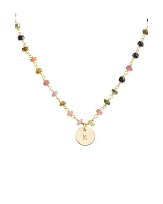 Nashelle | Metallic 14k-gold Fill Mini Initial Disc Tourmaline Chain Necklace | Lyst