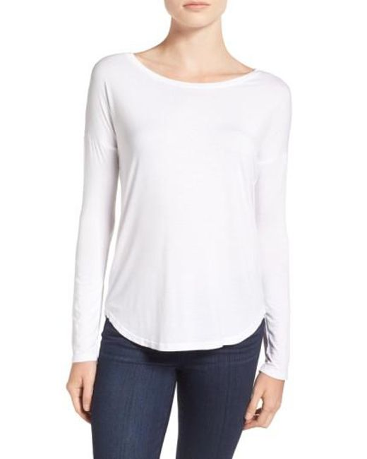 PAIGE | White 'bess' Stretch Jersey Boatneck Tee | Lyst
