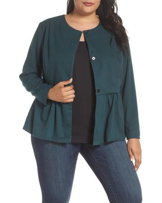 93a52401638b7 Lyst - Sejour Peplum Jacket in Green