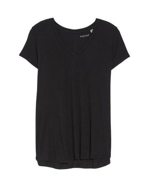 Sejour | Black Short Sleeve V-neck Tee | Lyst