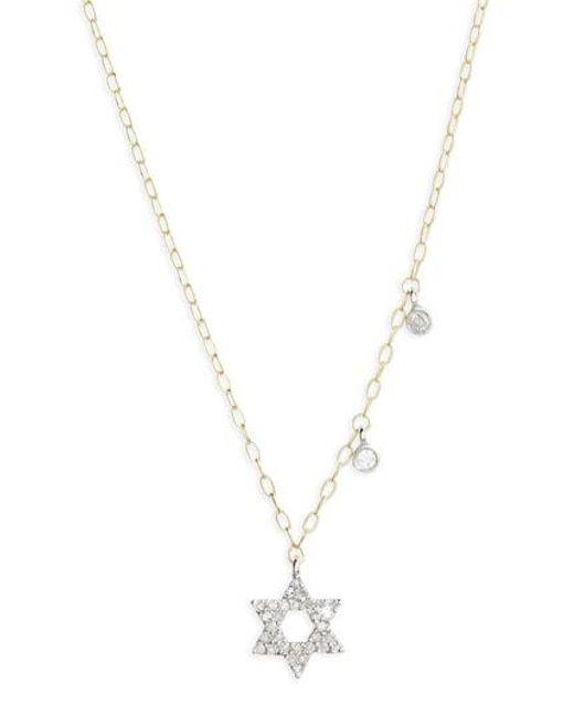 Meira T - Metallic Diamond Star Of David Pendant Necklace - Lyst
