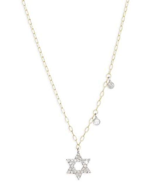 Meira T | Metallic Diamond Star Of David Pendant Necklace | Lyst