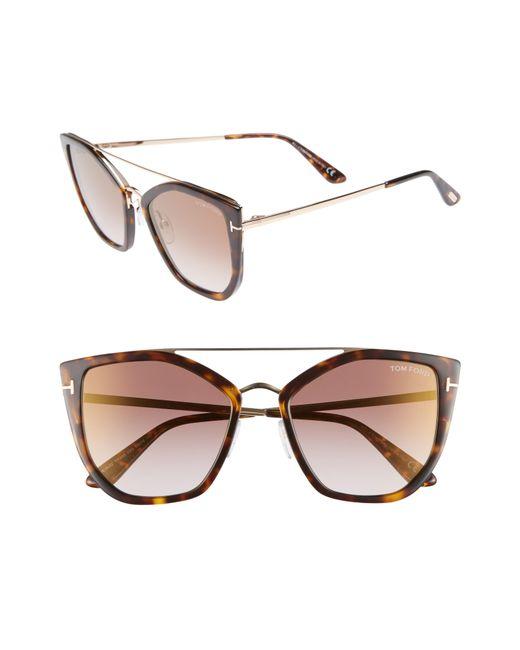 5ce72bb8daa Lyst - Tom Ford Dahlia 55mm Sunglasses in Brown