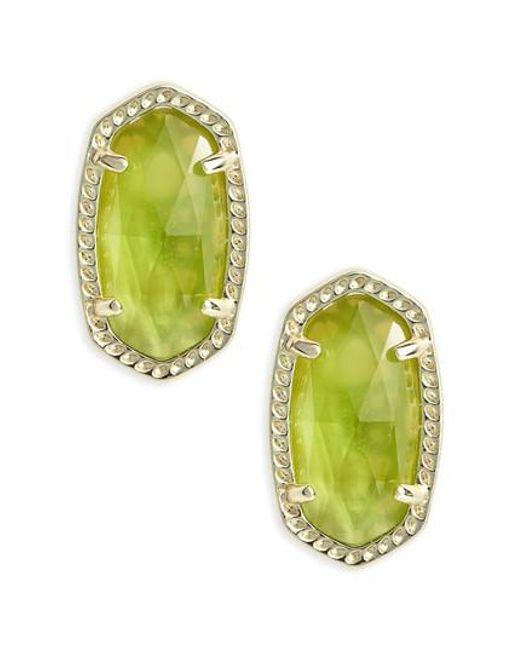 Kendra Scott   Green Ellie Birthstone Stud Earrings   Lyst