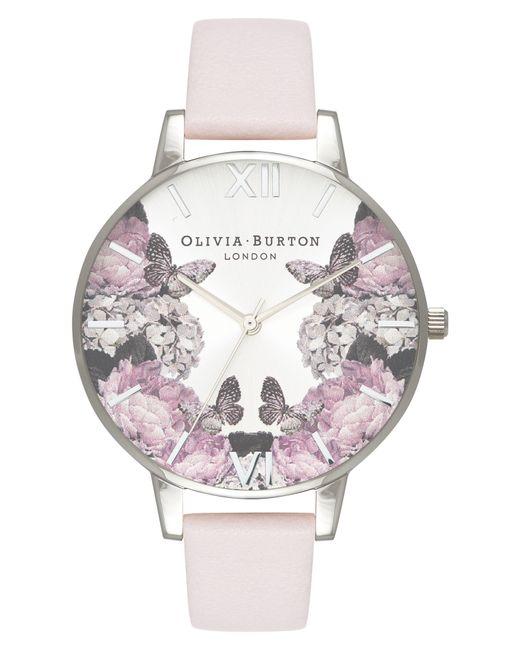 Olivia Burton - Metallic Signature Floral Leather Strap Watch - Lyst