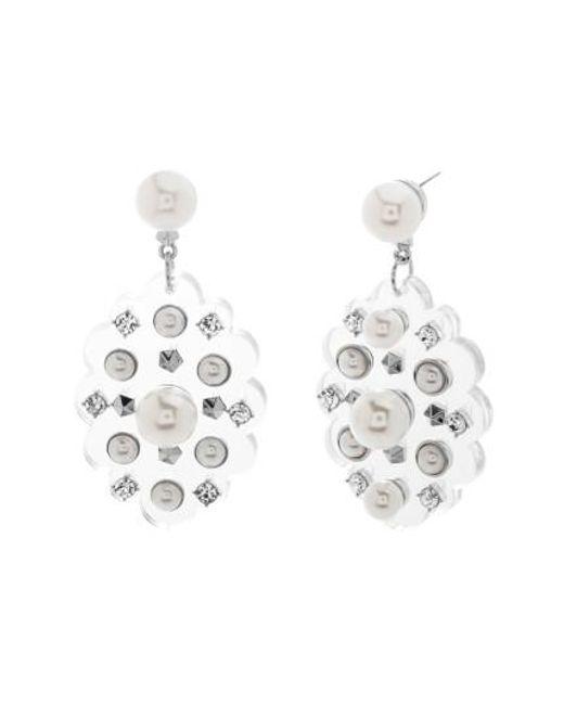 Steve Madden | White Crystal Drop Earrings | Lyst