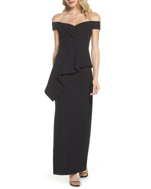 Vince Camuto | Black Pleated Peplum Off The Shoulder Gown | Lyst
