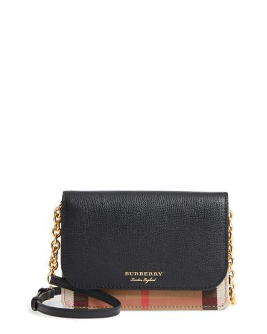 Burberry | Black Hampshire House Check & Leather Wallet On A Chain | Lyst