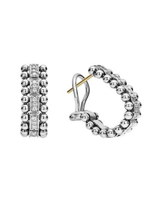 Lagos | Metallic Caviar Spark Diamond Oval Hoop Earrings | Lyst