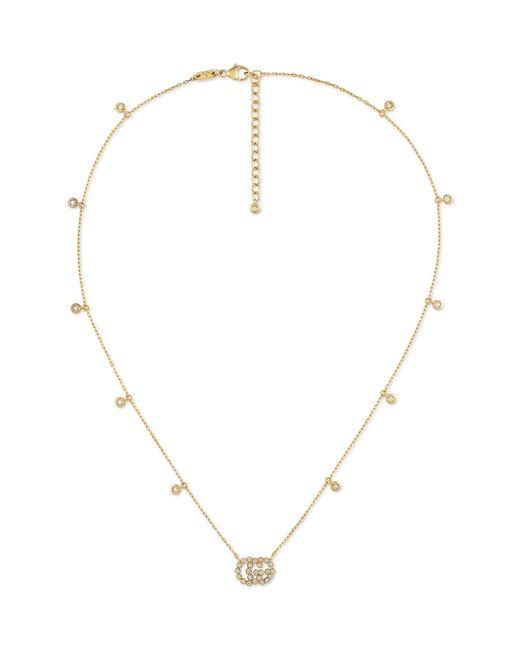 Gucci - Metallic Running G Diamond Pendant Necklace - Lyst