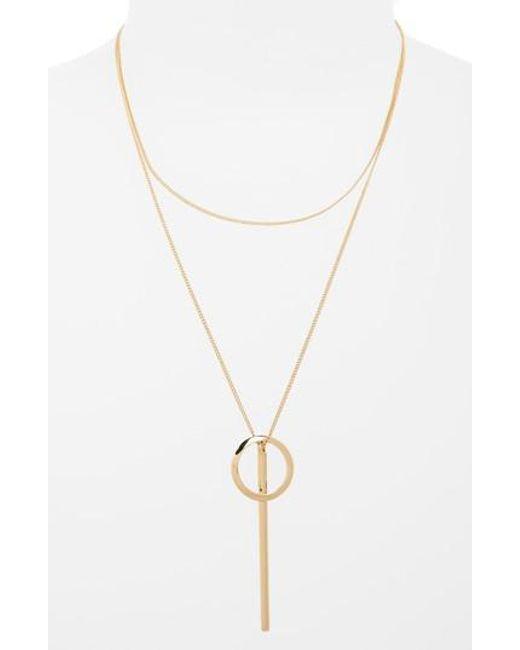TOPSHOP   Metallic Bar And Loop Lariat Necklace   Lyst