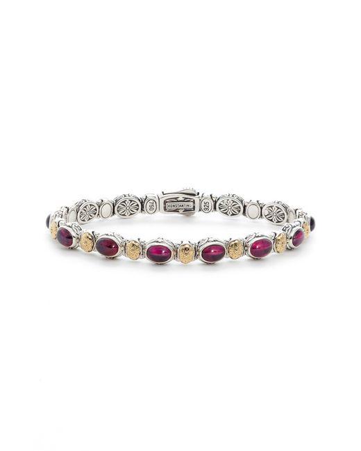 Konstantino - Metallic Silver Rhodolite Garnet Bracelet - Lyst
