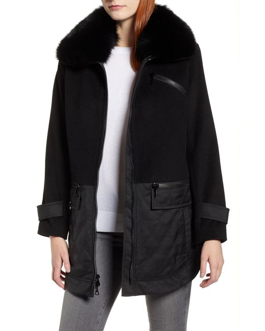 Trina Turk - Black Genuine Fox Fur Trim Mixed Media Coat - Lyst