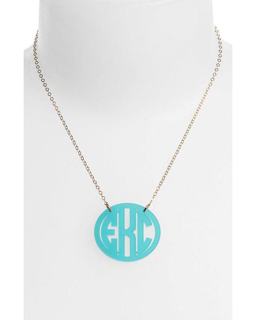 Moon & Lola - Blue Medium Oval Personalized Monogram Pendant Necklace (nordstrom Exclusive) - Lyst