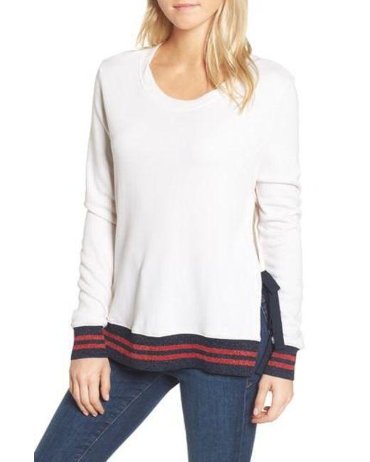 Pam & Gela   White Side Slit Sweatshirt   Lyst