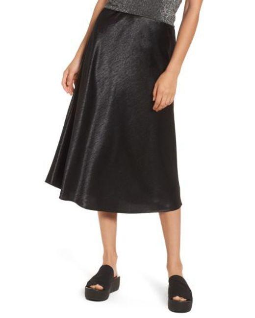 Love, Fire   Black Satin Midi Skirt   Lyst