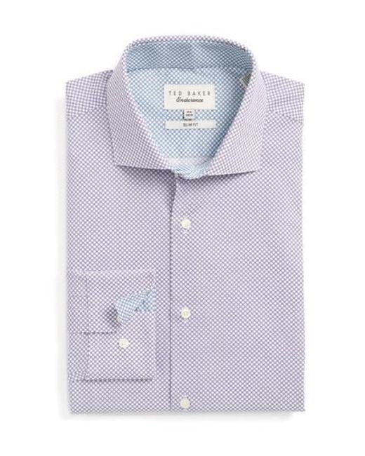 Ted Baker   Purple Locket Slim Fit Geometric Dress Shirt for Men   Lyst