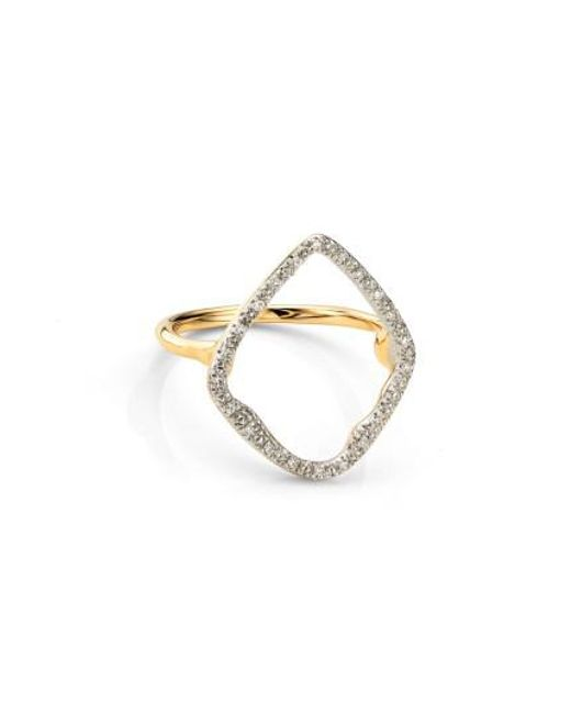Monica Vinader - Metallic Riva Hoop Diamond Ring - Lyst