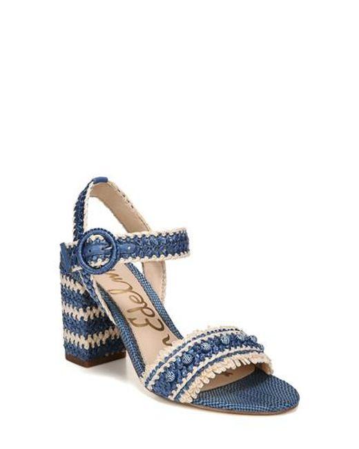 Sam Edelman Olisa Woven Raffia Ankle Strap Block Heel Dress Sandals 3Hi5N