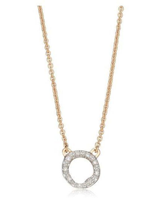 Monica Vinader - Metallic Riva Diamond Circle Pendant Necklace - Lyst