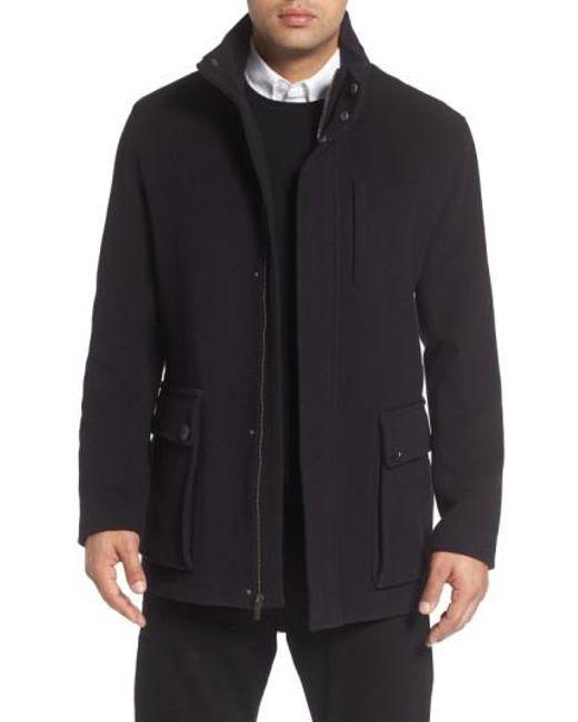 Cole haan Wool Blend Car Coat in Black for Men | Lyst