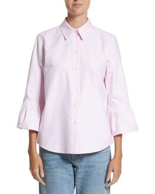 Marc Jacobs   Pink Bell Sleeve Cotton Top   Lyst