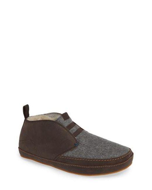 Olukai - Brown Moloa Genuine Shearling Slipper for Men - Lyst