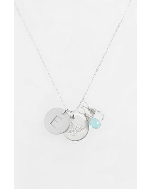 Nashelle | Metallic Ocean Blue & Crystal Swallow Sterling Silver Initial Disc Necklace | Lyst