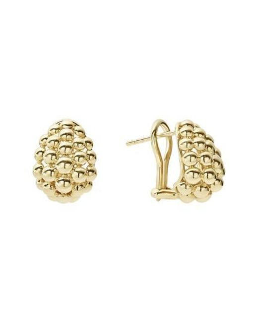 Lagos - Metallic Caviar Gold Bold Medium Omega Clip Earrings - Lyst