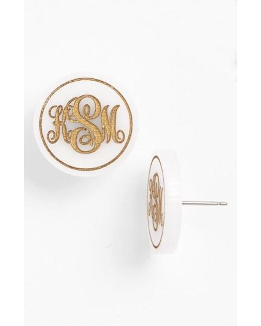 Moon & Lola | Metallic 'chelsea' Medium Personalized Monogram Stud Earrings (nordstrom Exclusive) | Lyst