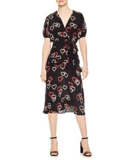 Sandro - Black Floral Hearts Silk Dress - Lyst