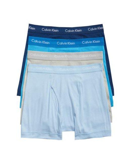 Calvin Klein - Blue Classic 4-pack Cotton Boxer Briefs for Men - Lyst
