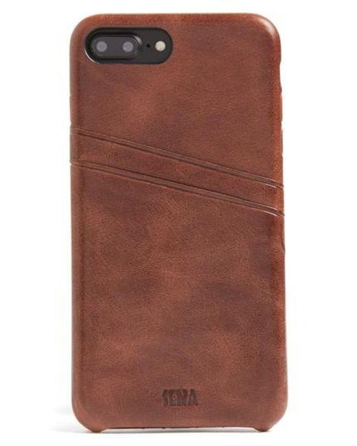 Sena   Brown Iphone 7 Plus Snap-on Wallet Case   Lyst