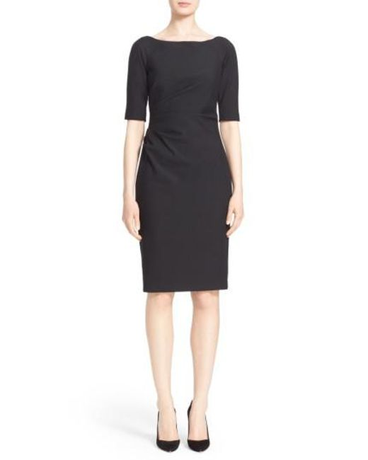 Lela Rose | Black Side Ruched Stretch Twill Dress | Lyst