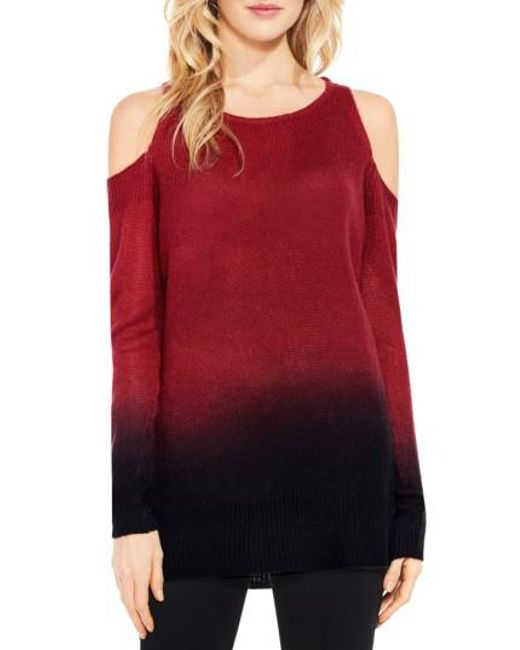 Two By Vince Camuto | Red Cold Shoulder Ombre Sweater | Lyst