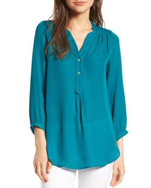 Amour Vert | Blue 'amy' Collarless Silk Blouse | Lyst