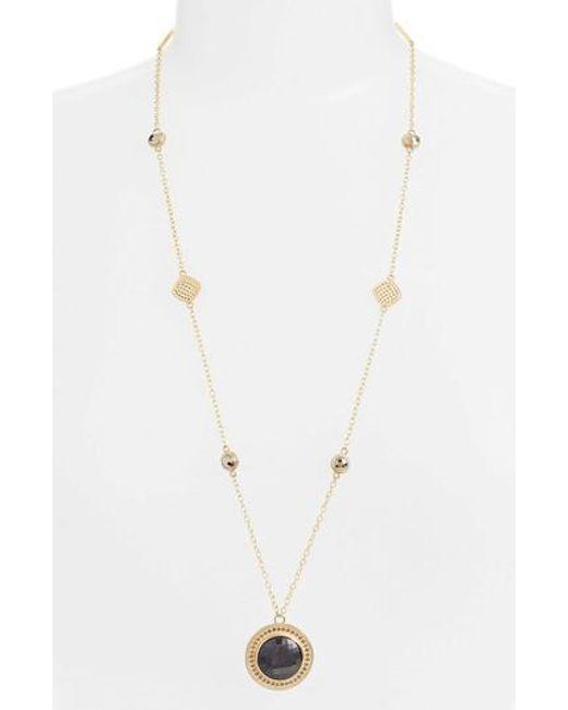 Anna Beck | Metallic Grey Sapphire & Pyrite Long Pendant Necklace | Lyst