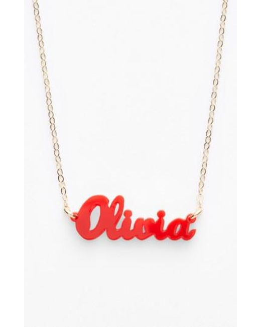 Moon & Lola   Red 'script Font' Personalized Nameplate Pendant Necklace   Lyst