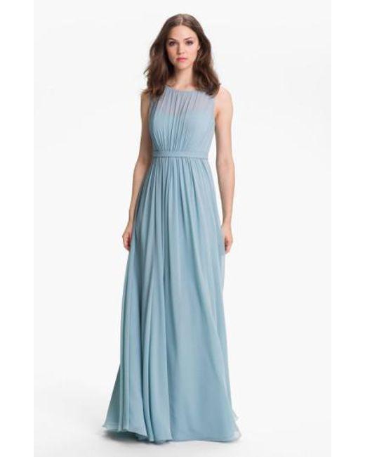 Jenny Yoo | Blue 'vivienne' Pleated Chiffon Gown | Lyst