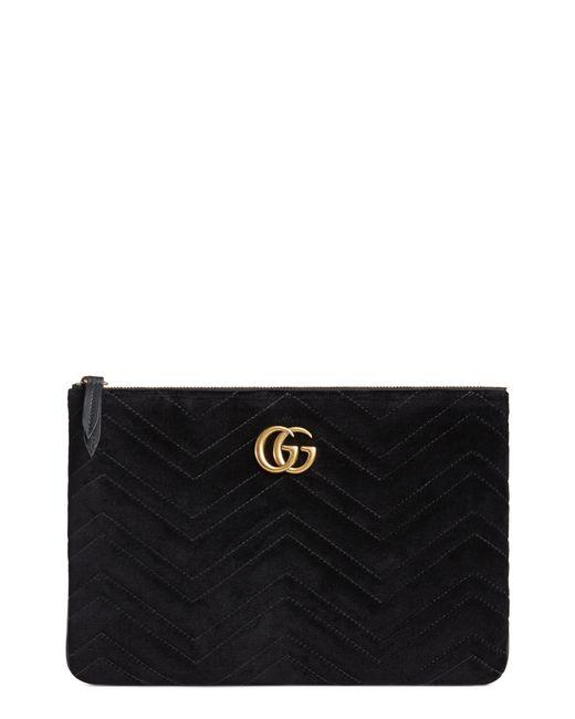 Gucci - Black Gg Marmont 2.0 Matelasse Velvet Pouch - Lyst