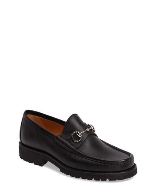 Gucci - Black Classic Lug Sole Moccasin for Men - Lyst