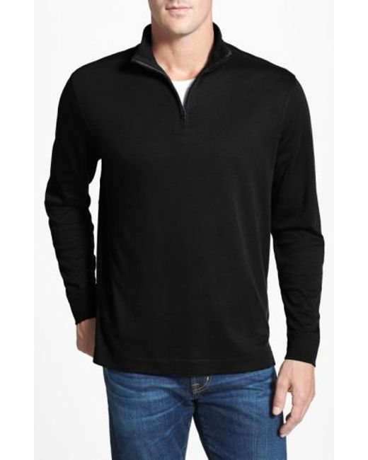 Cutter & Buck - Black 'belfair' Quarter Zip Pullover for Men - Lyst
