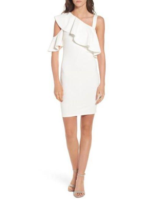 Soprano | White Ruffle One-shoulder Body-con Dress | Lyst